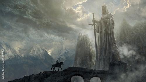 Fotografie, Obraz Fantasy art landscape with giant statue - digital illustration