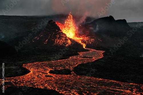 Slika na platnu Volcano eruption in Iceland