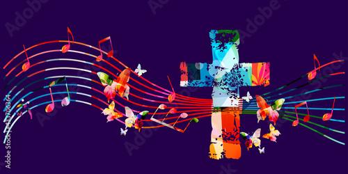 Obraz na plátně Colorful Christian cross with musical notes vector illustration