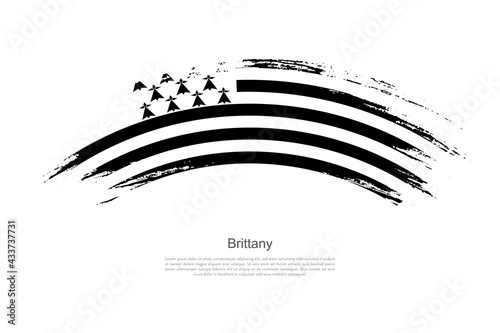 Billede på lærred Curve style brush painted grunge flag of Brittany country in artistic style