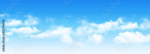 Canvas Print Sunny day background, blue sky with white cumulus clouds, natural summer or spring background with perfect hot day weather, vector illustration