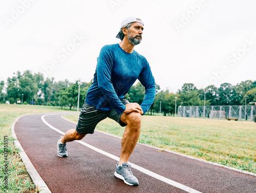 Leinwand Poster senior man running exercising sport fitness active fit
