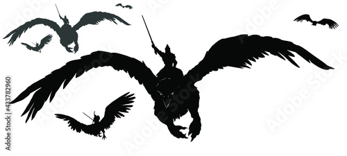 Fotografiet A black silhouette of an army of warriors flying on griffins into battle with swords at the ready