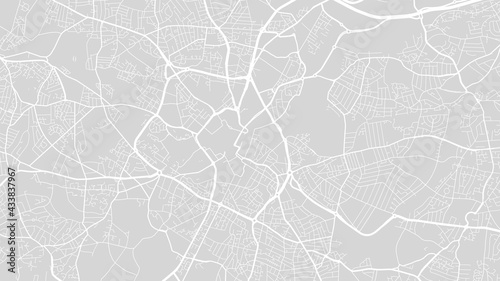 White and light grey Birmingham city area vector background map, streets and water cartography illustration.