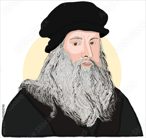 Fotografie, Obraz Hand drawn vector portrait. Leonardo Da Vinci.