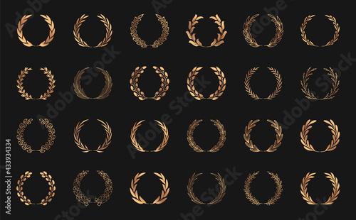 Slika na platnu Set of gold laurel wreaths