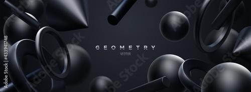 Black geometric 3d shapes backdrop. Abstract elegant background.