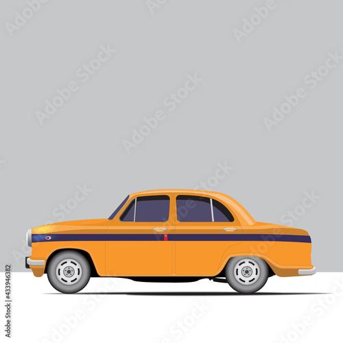 Fotografia, Obraz Side view of yellow classic cab