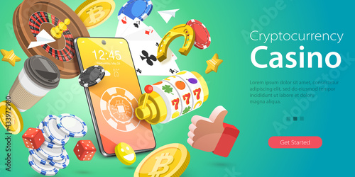 Fotomural 3D Isometric Flat Vector Conceptual Illustration of Cryptocurrency Casino, Online Gambling Platform for Live Poker, Roulette, Slot Machine and Dices