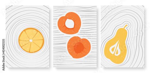 Canvas Print Summer fruits, abstract minimal outline wall art vector illustration set