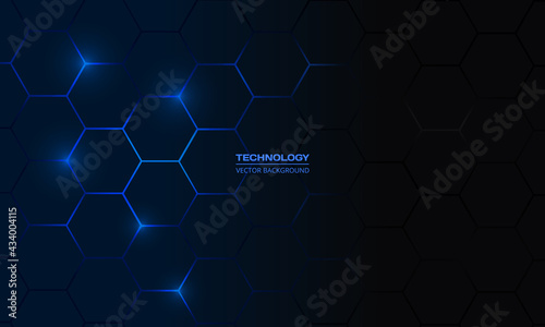 Canvastavla Dark blue hexagonal technology vector abstract background
