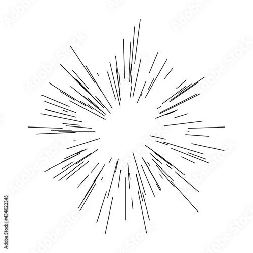Canvastavla Radial, radiating lines beams, rays. Random lines diverging