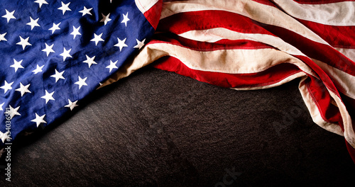 Fotografia, Obraz Happy Memorial day, Independence day concept made from american flag on dark stone background