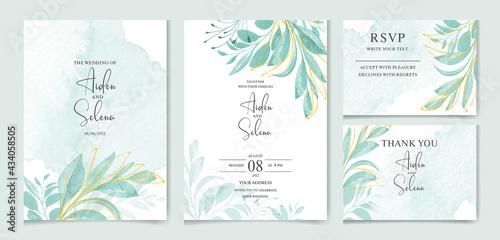 Cuadros en Lienzo set of watercolor wedding invitation card templates