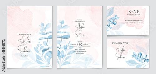 Fotografia set of watercolor wedding invitation card templates