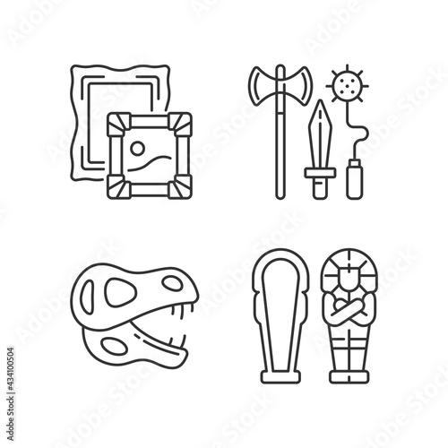 Obraz na plátně Archaeological excavation linear icons set