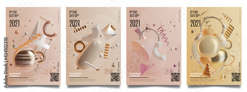 Wall mural Concept Banner Cards with Realistic 3d Detailed Abstract Geometry Elements. Vector