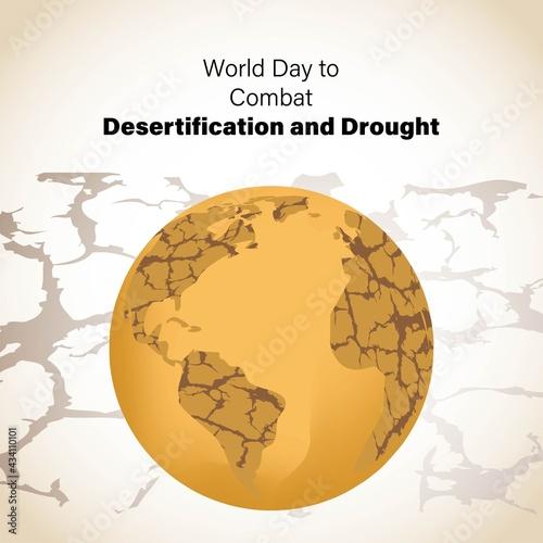 Fotografija world day to combat desertification and drought, vector illustration