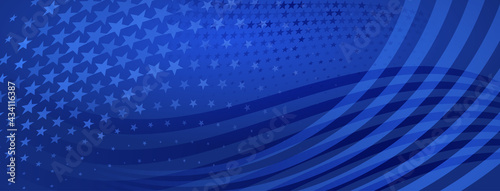 Fotografie, Obraz USA independence day abstract background with elements of american flag in blue