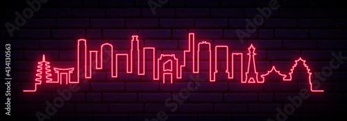Fototapeta premium Red neon skyline of Osaka. Bright Osaka City long banner. Vector illustration.
