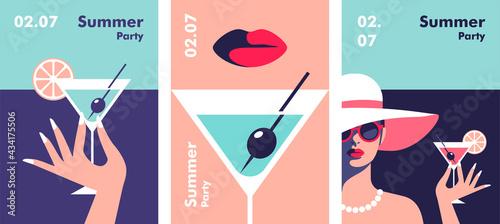 Tableau sur Toile Summer party poster design template