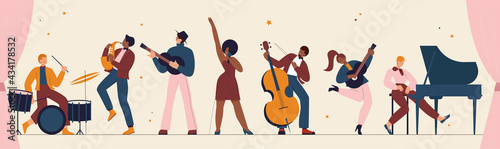 Canvas International jazz day, retro music festival party panorama concert vector illustration