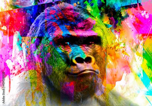 Obraz na płótnie gorilla monkey head with creative colorful abstract elements on light background