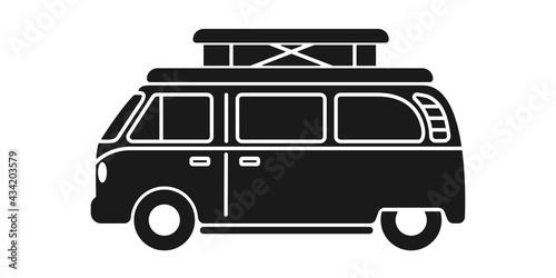 Slika na platnu Pop top camper van or travel RV for van life in vector icon