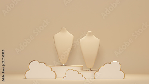 Fényképezés Bust showcase jewelry display for necklace pendant and cloud in a pastel background