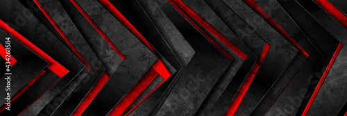 Glossy red and black grunge geometric arrows abstract background. Vector retro banner design