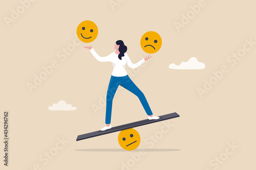 Fototapeta Emotional intelligence, balance emotion control feeling between work stressed or sadness and happy lifestyle concept, mindful calm woman using her hand to balance smile and sad face