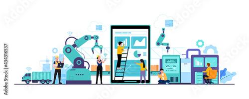 Fotografia, Obraz Worker human working with technology smart industry 4.0