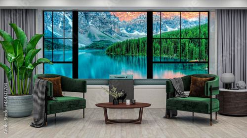 Canvas Modern living room with mountain lake sunrise view in windows, photorealistic 3D Illustration of the interior, suitable for using in video conference and as a zoom background