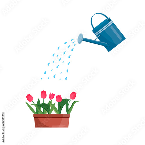 Obraz na plátně Vector blue watering can isolated on a white background