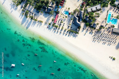 Obraz na plátně Tropical Sea. Amazing bird eyes view in Zanzibar