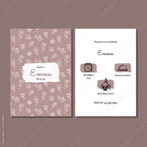 Obraz na plátne Pink invitation for christening