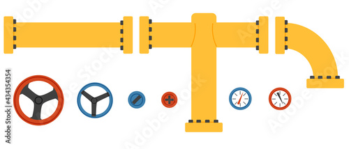 Canvas Print Valve pipes and sensors isolated vector illustration
