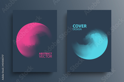 Fototapeta Brochure cover template layouts with gradient orbs round shapes