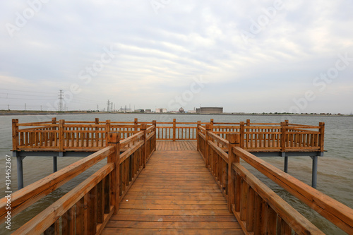 Canvas Print The wooden trestle extends to the sea, North China