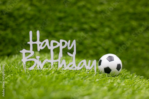 Canvas Print Happy Birthday sign with football on green grass
