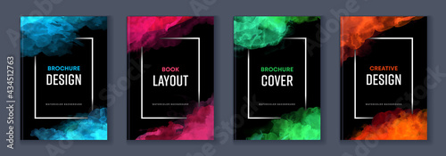 Foto Watercolor booklet brochure colourful abstract layout cover design template bund