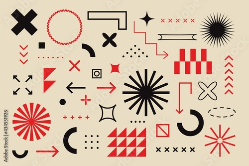 Obraz na plátně Abstract geometric elements bauhaus swiss style