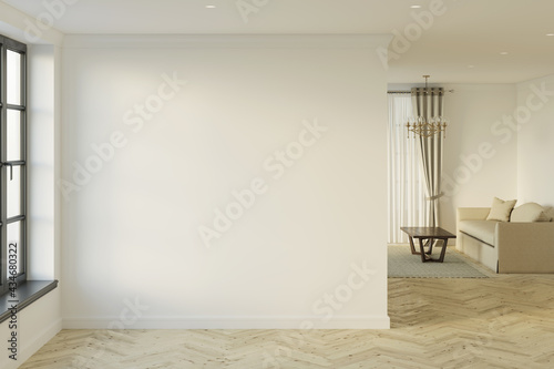 Slika na platnu Empty bright hall with window, blank mockup wall, parquet floor, and living room in the background