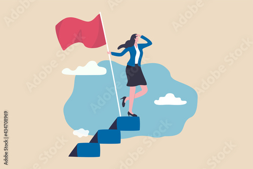 Murais de parede Success female entrepreneur, woman leadership or challenge and achievement concept, success businesswoman on top of career staircase holding winning flag looking for future visionary