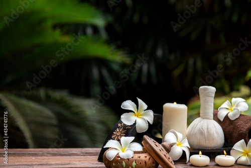 Thai Spa.  Massage spa treatment aroma for healthy wellness and relax. Spa Plumeria flower for body therapy.  Lifestyle Healthy Concept
