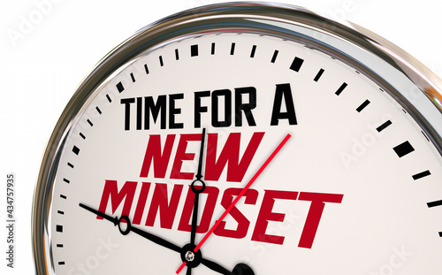 Photo Time for a New Mindset Clock Change Perspective Vision Attitude 3d Illustration