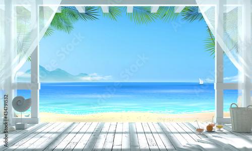 Fotografie, Obraz Gazebo on a tropical beach overlooking the ocean