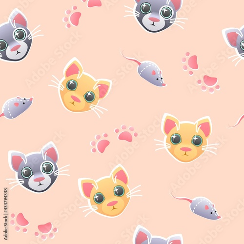 Cats seamless pattern cat mouse paws on brigt pink background  vector