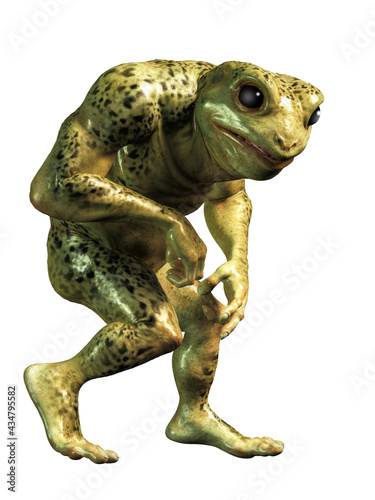 Photo A mutant frogman stands before you: half frog and half human, this humanoid green slimy creature looks like something staight out of a horror movie