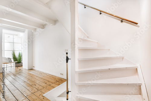 Luxury staircase hall of special design in an elegant house Fototapeta